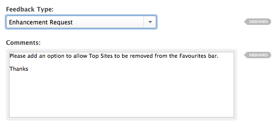 how to remove 'Top Sites' in Safari |