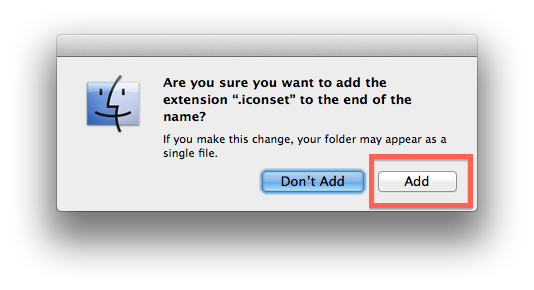 Finder add extension .xxx warning
