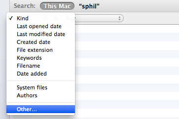 Finder Search menu: Other