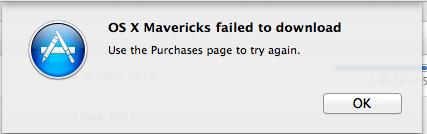 Mavericks failed to download