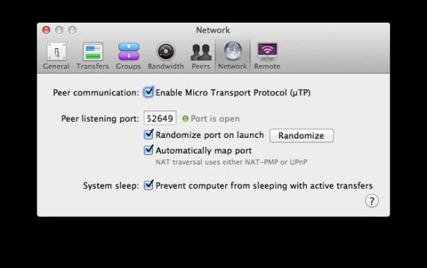 transmission network prefs