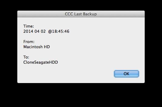 CCC Last Backup date
