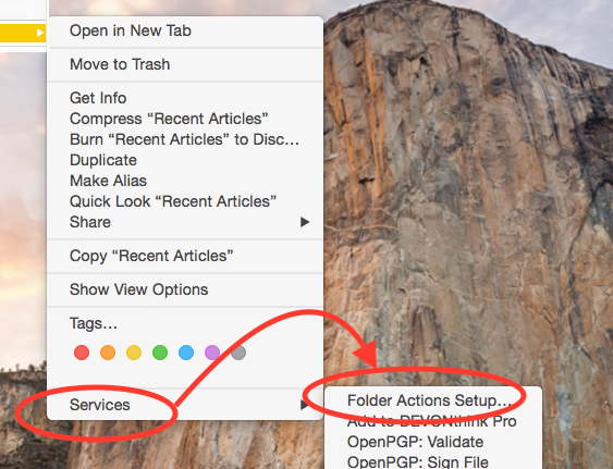 Folder Actions Setup