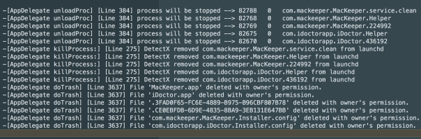 DetectX console log