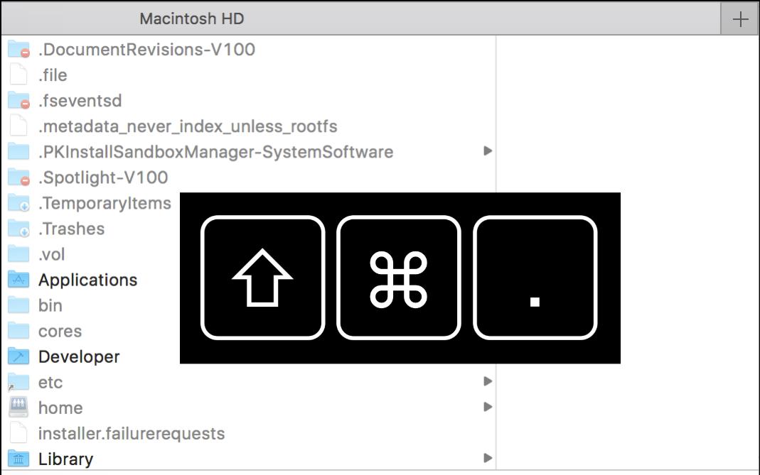 mac finder show hidden files shortcut