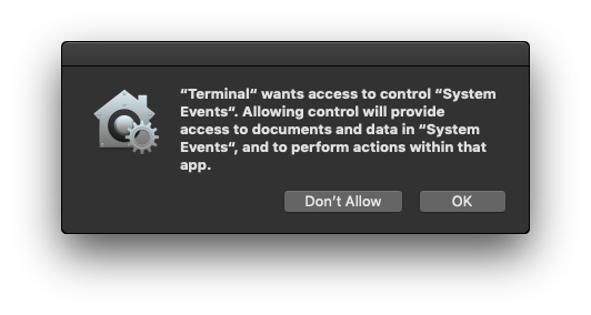 Mojave: not authorized to send Apple events |